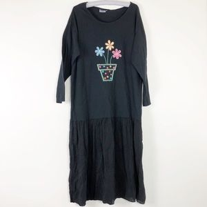 Johnny Was Cotton Knit Embroidered T-shirt Dress L